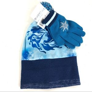 Frozen set blue gloves & hat for kids